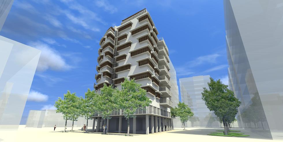 בית המחוגה בתכנון אדריכל רמי גיל. תשע קומות, 31 דירות, שטחים מסחריים ומשרד של העירייה (הדמיה: באדיבות קבוצת וגר)