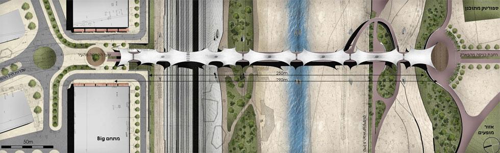 הגשר יוליך הולכי רגל ורוכבי אופניים מהעיר אל פארק באר שבע, והוא מורכב משבעה מקטעים של מפרשי הצללה (הדמיה: משרד דני לזר)