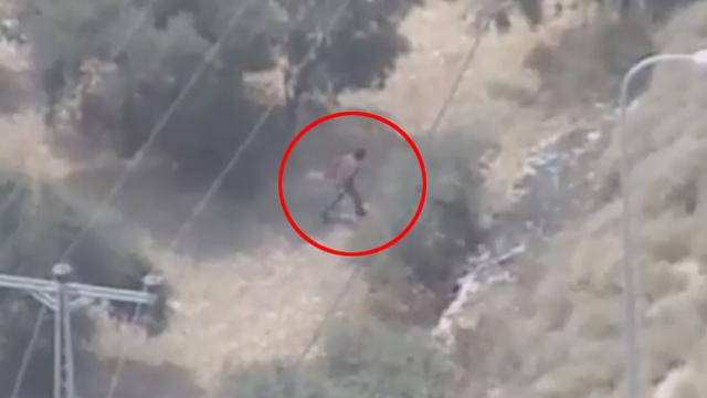 A suspicious person next to route 443 (Photo: Shahar Goldstein, IDF Spkesperson's Unit)