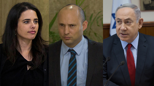 PM Netanyahu (R) request a postponement on the override power bill vote, but was denied by Bayit Yehudi's Shaked (L), Bennett
