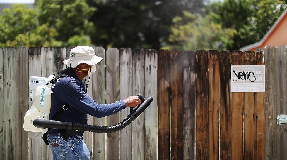 מרססים נגד יתושים נושאי הנגיף בשנה שעברה (צילום: AFP)