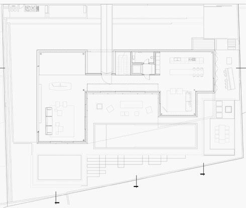 תוכנית קומת הכניסה (תוכניות: פיצו קדם אדריכלים)