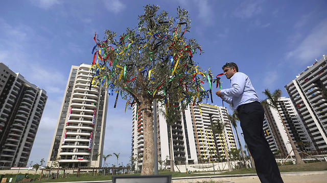 A tree filled with ribbons stands as part of a memorial in honor of Israeli Olympic athletes killed by Palestinian gunmen at the 1972 Munich Olympics (Photo: AP)