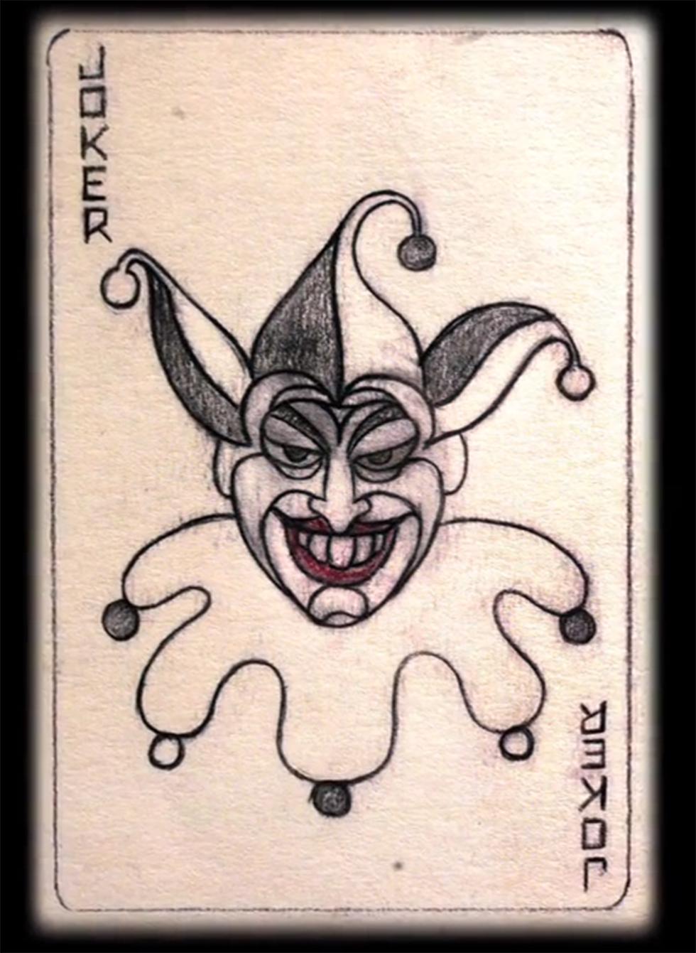 הקלף שעיצב ג'רי רובינסון בדמותו של הג'וקר ()