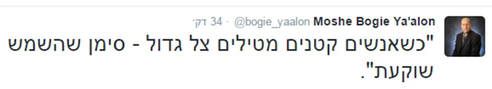 ציוץ של יעלון בטוויטר ()