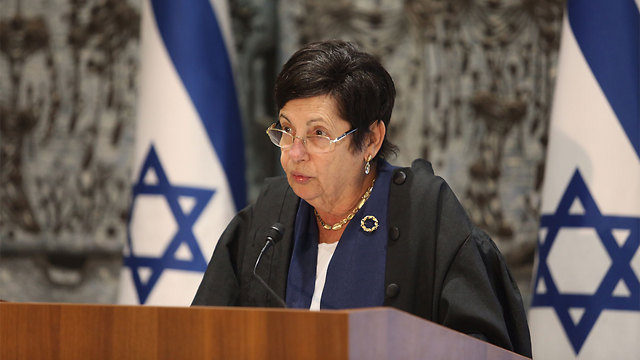 Supreme Court Chief Justice Miriam Naor not only defended judges against politicization, she also defended soldiers and police officers operating in West Bank (Photo: Gil Yohanan)