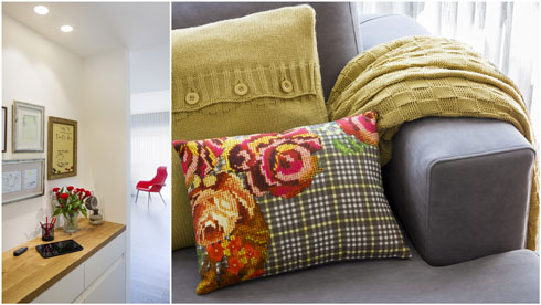 צבעים שחוזרים במבואה ובסלון (צילום: שי אפשטיין)