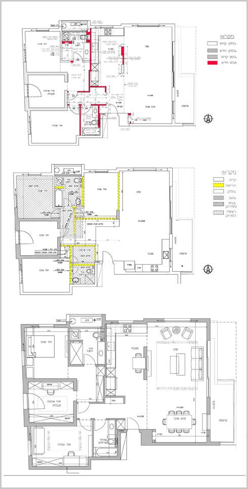במרכז, בצהוב: הקירות שנהרסו בשיפוץ. למעלה, באדום: קירות שנבנו. למטה תוכנית הדירה לאחר השיפוץ (תוכניות: שירי בלום לאודן)