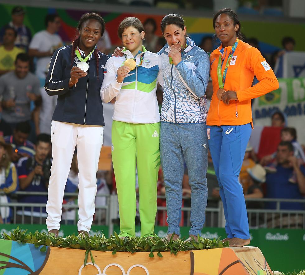 ג'רבי ואגבניינו על הפודיום באולימפיאדת ריו 2016 (צילום: אורן אהרוני) (צילום: אורן אהרוני)