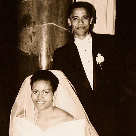 מישל וברק אובמה בחתונה ב-1992
