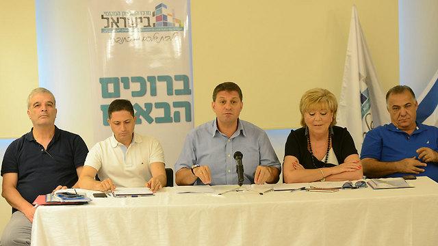 ראשי הערים במסיבת העיתונאים בתל אביב, היום (צילום: חורחה נובומינסקי)