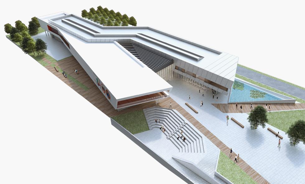 """מקום שלישי: ההצעה של אליאב אדריכלים. המרכז יכשיר את הציבור הרחב, כך מקווים יוזמיו, להתמודד עם הפחדים שמביא """"היום שאחרי מחר"""" (הדמיה: אגף ההנדסה והבינוי במשרד הביטחון)"""