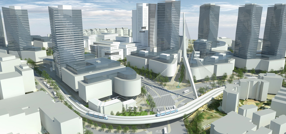 הדמיה של התוכנית העצומה לכניסה לירושלים. אחרי גשר המיתרים יצוצו מגדלי עסקים, בתי מלון וחניונים שיצופפו את האזור בניסיון ליצור סיטי עסקי  (הדמיה: פרחי-צפריר אדריכלים)