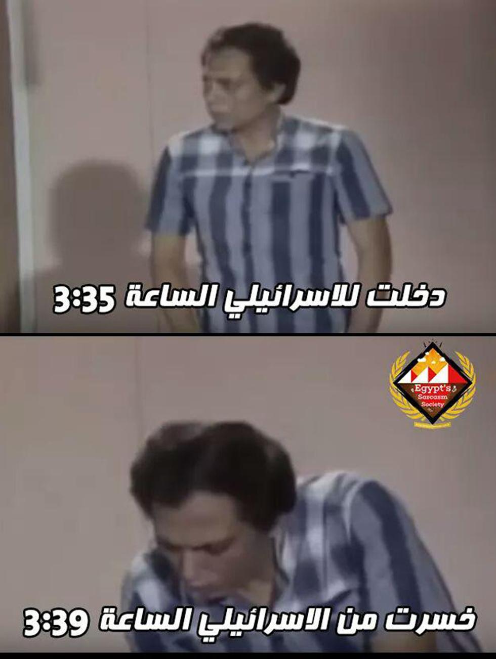 """מם שפרסמו גולשים מצרים ברשתות החברתיות - צוחקים על חשבון א-שהאבי בעזרת סרטי קולנוע: """"נכנסתי לישראלי בשעה 03:35 וככה זה נראה ב-03:39"""""""