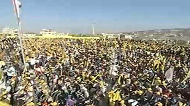 Hezbollah rally in a border town close to Israel marking 10 years since the end of the Second Lebanon War