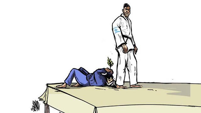 """קריקטורה הבוקר מהעיתון הפלסטיני """"אל-קודס"""". המצרי עם ענף זית, על הרצפה ()"""