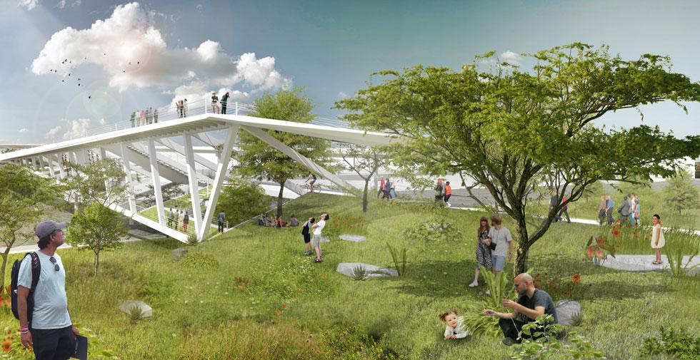 ההצעה של בר אוריין אדריכלים (שבה מרחבים ירוקים שרלוונטיים רק עונה קצרצרה באזור) (הדמיה: בר אוריין אדריכלים)
