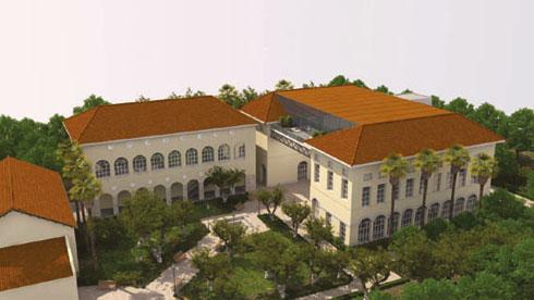 """המרפסת המרחפת (מימין) שעומדת להיבנות על מרכז סוזן דלל. נראית יותר כמו מוזיאון האצ''ל (הדמיה: אי. אי. סטודיו בע""""מ)"""