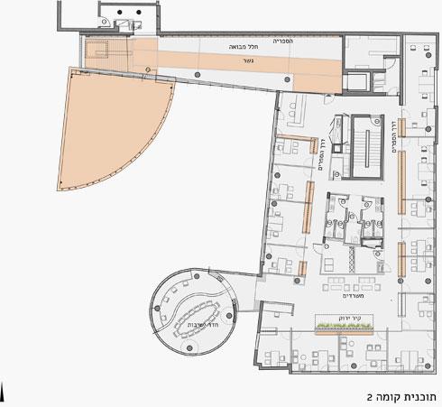 תוכנית הקומה השנייה (תוכניות: אורבך הלוי אדריכלים, פלסנר אדריכלים)