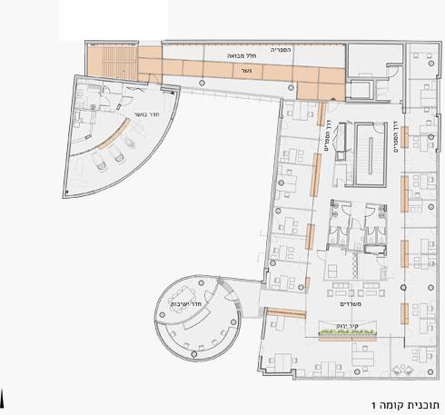 תוכנית הקומה הראשונה (תוכניות: אורבך הלוי אדריכלים, פלסנר אדריכלים)