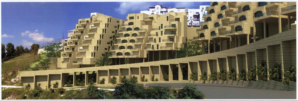 הדמיית הפרויקט. שלושה בניינים מדורגים, 94 דירות. התוכנית סותרת את עקרונות תוכנית המתאר של העיר (הדמיה: מתוך תיק עיריית צפת)