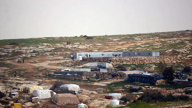 The tent village of Susya with illegal EU built structures (Photo: Regavim)
