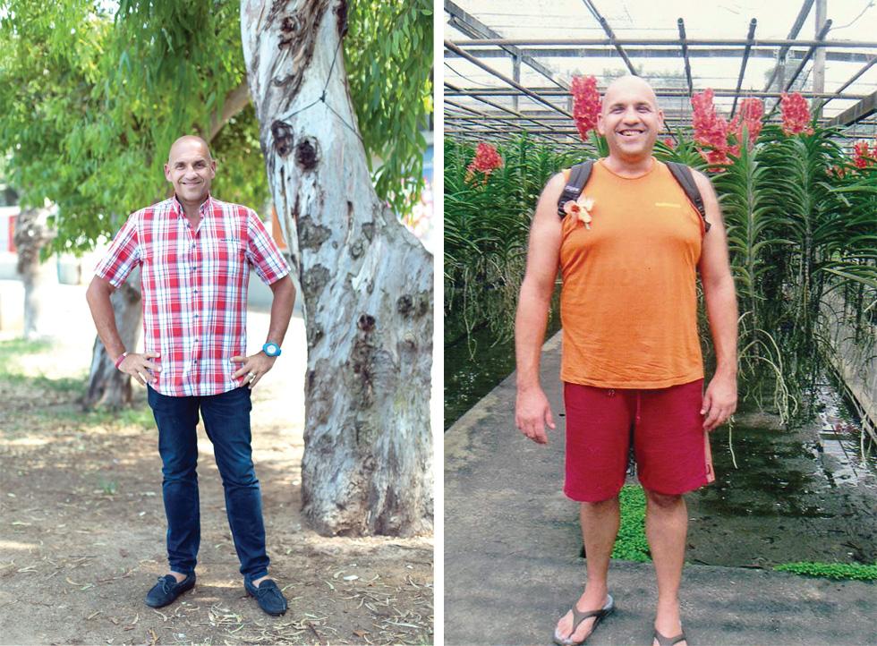 שלומי הרט לפני ואחרי הניתוח. 130 קילו בתקופה השמנה (צילום: גילעד משיח, אלבום פרטי)
