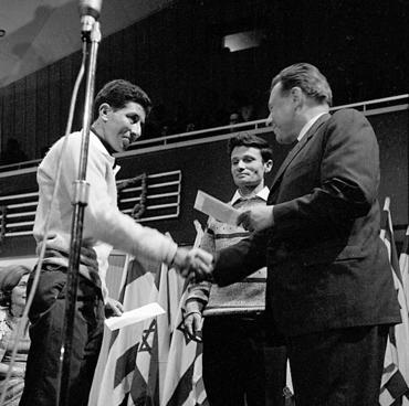 היימן (משמאל), יורם טהרלב וטדי קולק, פסטיבל הזמר 1965