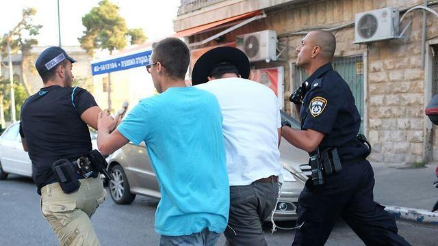 עצור חרדי בהפגנה, היום  (צילום: יואב דודקוביץ') (צילום: יואב דודקוביץ')