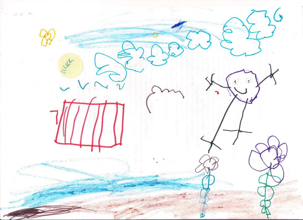 ילד, פרחים, עננים וציפורים: בחירה בריאה ויצירתית שיש מאחוריה שמחה. יצירתיות לא חייבת להיות גרנדיוזית