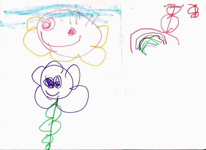 שמש, פרח וקשת בשמיים: רמה גבוהה של ציור, יחד עם קושי מוטורי בקו הרועד שבקשת