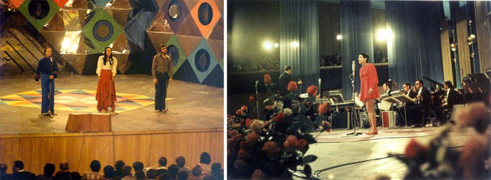 """השמעות הבכורה לשניים מהלהיטים הגדולים ביותר של רוזנבלום: """"על כפיו יביא"""" בביצוע רבקה זהר בפסטיבל הזמר 1969 (מימין), ו""""ליל חניה"""" בביצוע אפרים שמיר, ירדנה ארזי וחנן יובל בפסטיבל 1973. """"רציתי להשתתף בפסטיבלי ילדים, והוא לא הרשה לי"""" (צילום: אמיתי לבון)"""