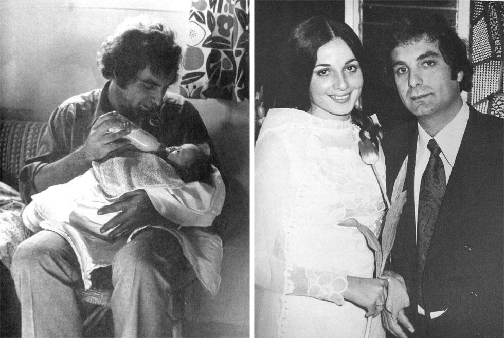 """יאיר רוזנבלום בחתונתו עם עדנה (מימין) ועם בתו קרן. """"הייתי בת יחידה. בלונדון הוא גידל אותי"""" (צילום: אלבום פרטי)"""