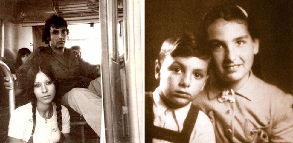 """רוזנבלום עם אחותו עליזה בילדותם (מימין) ועם ירדנה ארזי בתחילת שנות ה-70. """"נפטר בתחושה שהוא השיג המון"""" (צילום: מתוך האלבום הפרטי, שמעון ויצמן)"""
