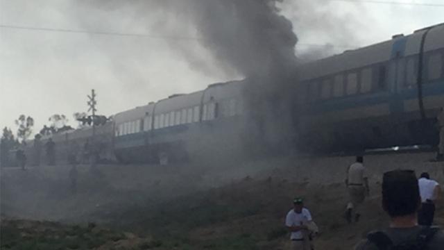 The train on fire (Photo: Liran Cohen)