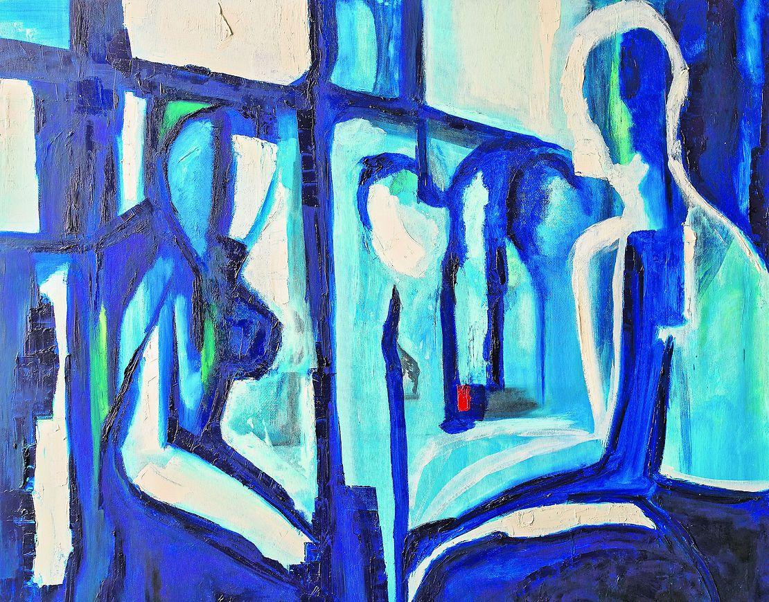 """הציור """"מקפיא רגעים אינטימיים"""". מתוך התערוכה (צילום: אור קפלן)"""