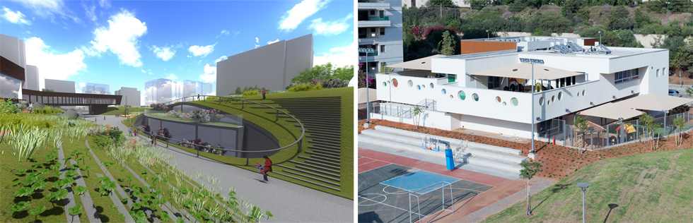 מימין: התוצאה הסופית. משמאל: החזון המקורי. במקום קומפלקס חינוכי חפור בגבעות מלאכותיות - בנייה רגילה. ובמקום גגות ירוקים - יציאה לגג סתמי. ועדיין, ההשקעה פר מטר רבוע גבוהה בהרבה מהסטנדרט (צילום: גדעון לוין, הדמיה: באה אדריכלים ובוני ערים)