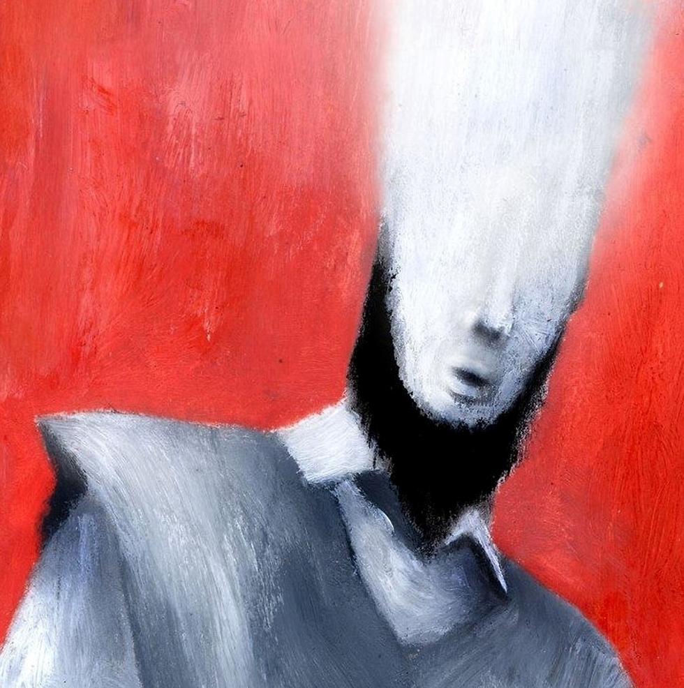 """""""זו דמותו של האדם הראשון לאחר הגירוש מגן עדן, כשהאור היוצא מן הראש מסמל את הנשמה שעדיין שייכת לגן עדן"""". יצירה של ברכיל (אברהם גיא ברכיל) (אברהם גיא ברכיל)"""