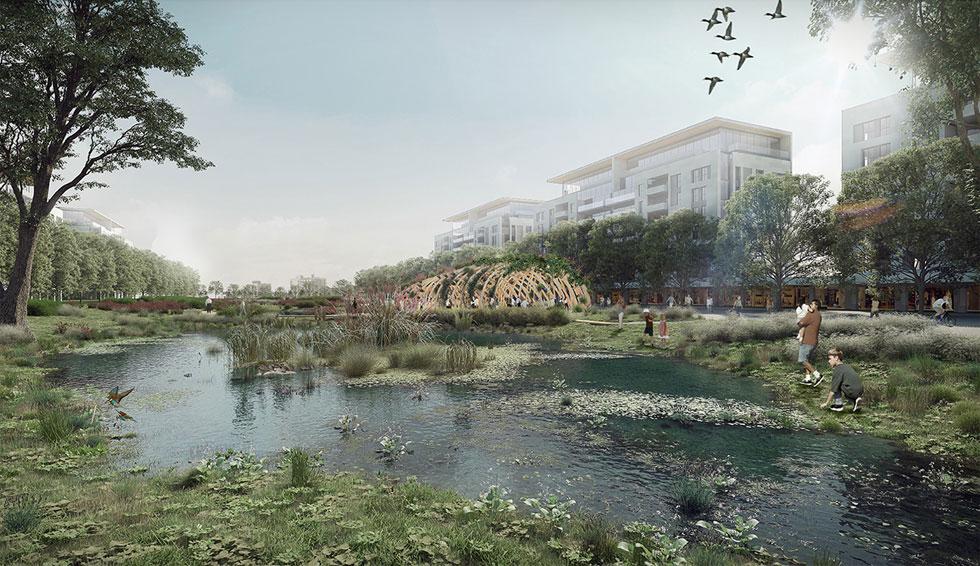 הפארק, לפי ההצעה הזוכה של סטודיו אורבנוף, יהיה הרצועה הירוקה שתפריד בין קו המים לבין השכונה החדשה והגדולה (הדמיה: סטודיו ארבנוף ו-HAGEN ZOHAR ARKITEKTEN)