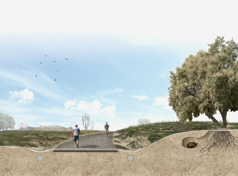 הליכה בפארק. תווך בין השכונה הענקית לבין חוף הים, לאחר שבמקור התכוונו לבנות עד החוף עצמו (הדמיה: סטודיו ארבנוף ו-HAGEN ZOHAR ARKITEKTEN)