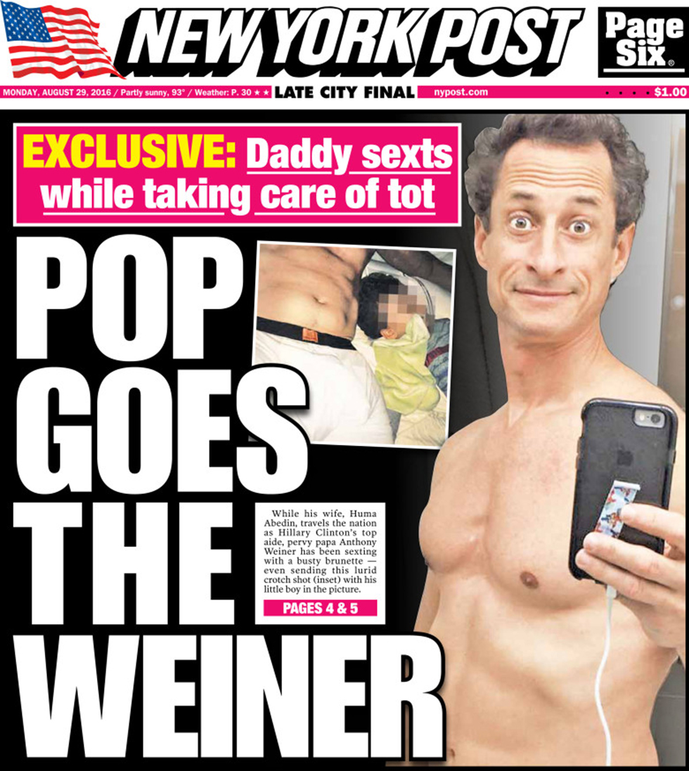 NY tabloid New York Post's cover detailing the affair
