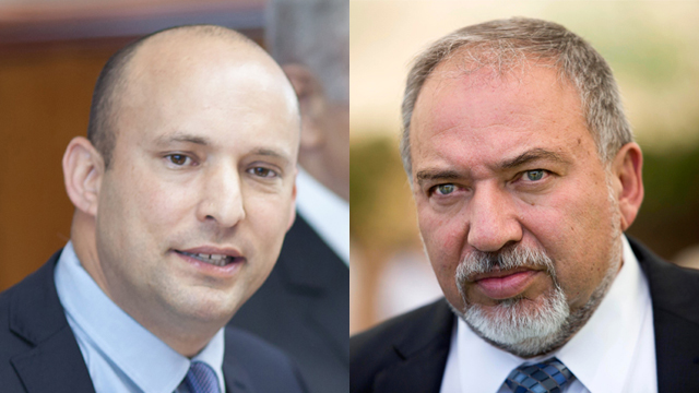 Minister Naftali Bennett (left) and Defense Minister Lieberman  (Photos: AP, EPA)