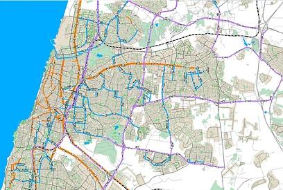 נתיבי תחבורה ציבורית מתוכננים למרכז גוש דן - 2020 ()