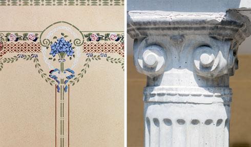 עמוד עם כותרת קורינתית ואחד מציורי הקיר שנחשפו (צילום: אינסה ביננבאום)