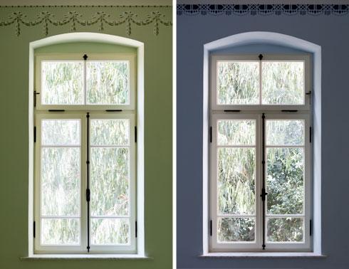 מסגרות החלונות לבנות, הצירים והידיות שחורים (צילום: אינסה ביננבאום)