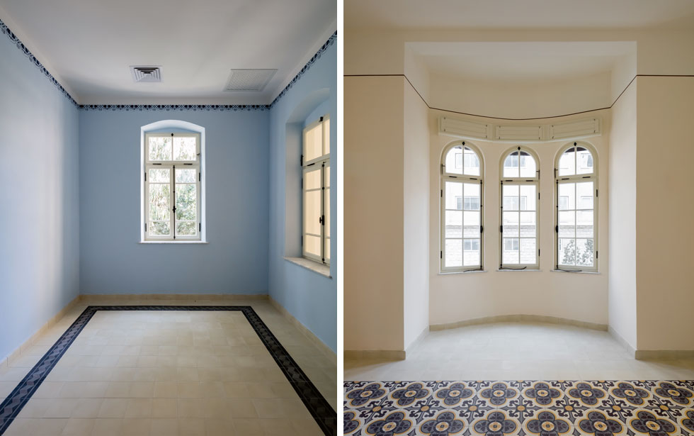 שכבות הצבע הרבות שכיסו את הקירות קולפו עד שנחשפו ציורי הקיר והצבעים המקוריים, מגוונים אך מאופקים (צילום: אינסה ביננבאום)