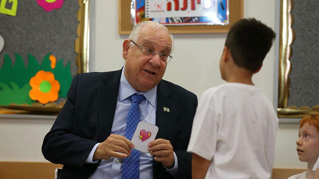Reuven Rivlin at the school (Photo: Elad Gershgoren)