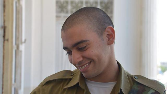Elor Azaria at the courthouse (Photo: Motti Kimchi)