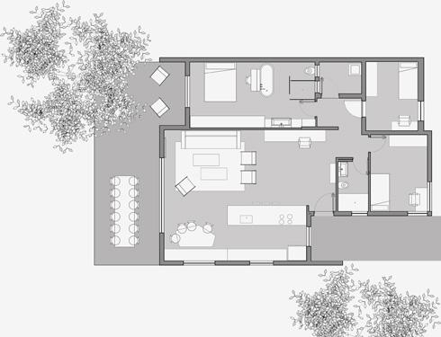 תוכנית הבית (שרטוט: נוימן חיינר אדריכלים בשיתוף עופר ארז)