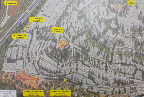 בתצלום אוויר של הר המנוחות נראים סימוני עיר המנהרות (צילום: גיא נרדי)